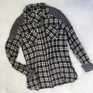Free People Black and White Flannel Shirt